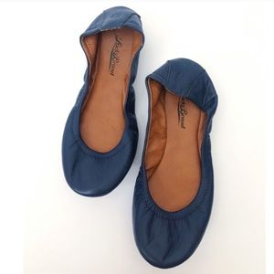 Lucky Brand Emmie Navy Blue Leather Flats Size 6